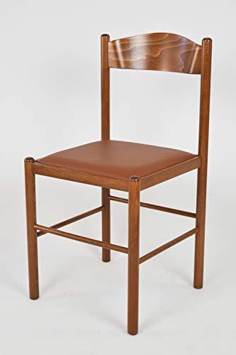 Tommychairs - Set 2 sedie classiche PISA 38 per cucina, bar e sala da pranzo, robusta struttura in legno di faggio verniciata color noce chiaro e seduta imbottita e rivestita in ecopelle color cuoio