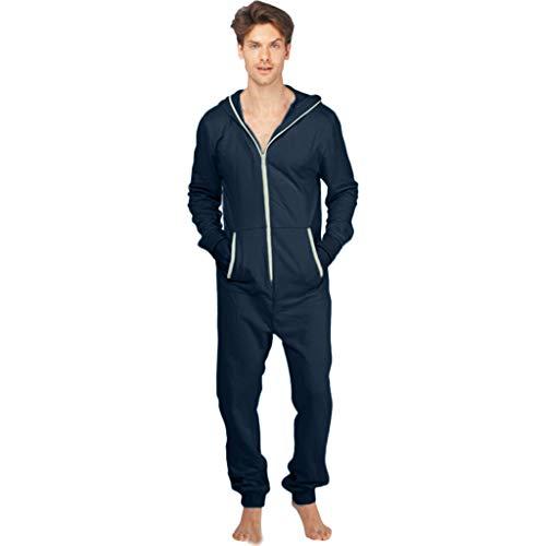 FRAUIT Mannen overall met lange mouwen Onesie pyjama sweatshirt jumpsuit eendelig pyjama slaapoveralls heren fleece overall