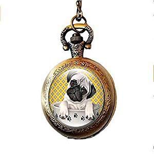 Mops Hund Taschenuhr Halskette Mops in einer Teetasse Art Glas Schmuck Frauen Geschenk