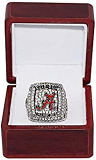 UNIVERSITY OF ALABAMA CRIMSON TIDE (Derrick Henry) 2015 SEC NATIONAL CHAMPIONS (Vs. Gators) Collectible High-Quality Replica Silver Football Championship Ring with Cherrywood Display Box