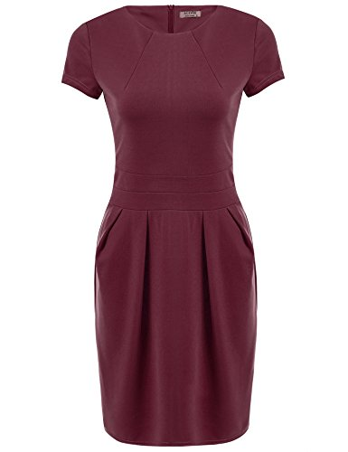ACEVOG Women's Work Dress Official Wear to Work Retro Business Bodycon Pencil Dress Wine Red