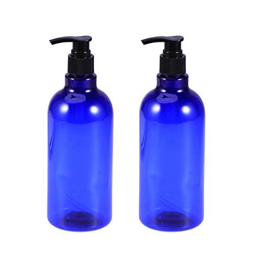 Lurrose 2pcs 500ml Bouteilles à pompe à huile essentielle à vis Bouteilles rechargeables liquides pour le voyage (bouteille bleue et pompe noire)