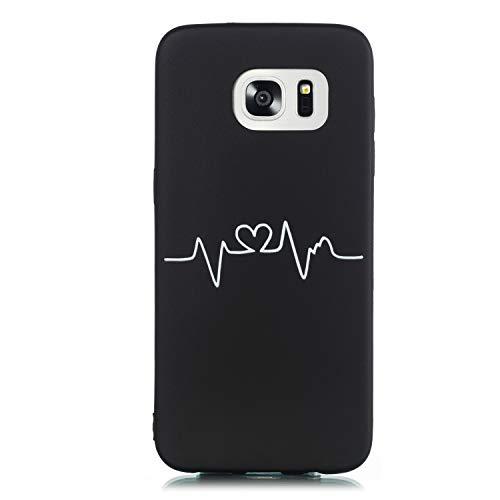 Huphant Kompatibel mit Samsung Galaxy S7 Edge Hülle, Stoßstange Gemaltes Non-slip Anti-gelb Ultradünn Silikon Handyhülle für Samsung Galaxy S7 Edge Case Silikon -Herzschlag