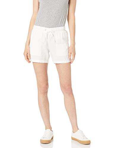 Amazon Essentials Women's 5 Inch Inseam Drawstring Linen Blend Short, White, Medium