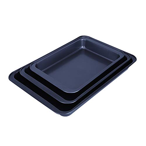DaMohony Bakeware Non-Stick Cookie Sheet/Baking Sheet Dishwasher Safe Carbon Steel Half Toaster Oven Pan Tray Replacement 3PCS