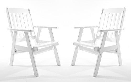 Ambientehome Gartensessel verstellbarer Sessel Stuhl Gartenstuhl Massivholz Hochlehner VARBERG, Weiß, 2-teiliges Set