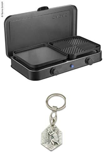 Zisa-Kombi 2-Cook Pro Deluxe 2-Flamm-Kocher/Grill 50mbar, Piezo, 2 Grillplatten (932988915218) mit Anhänger Hlg. Christophorus
