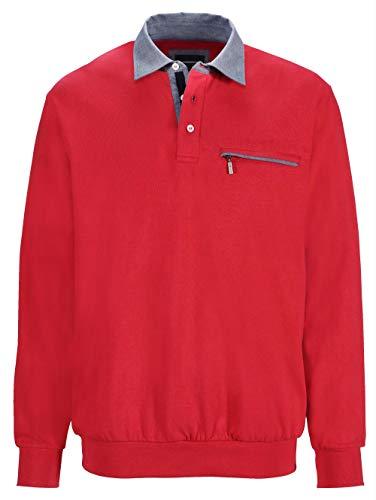 BABISTA Herren-Sweatshirt mit Hemd-Kragen – Freizeit-Pullover aus Reiner Baumwolle, Sportiver Regular Fit Langarm-Pulli, Troyer in Rot, Gr. 62