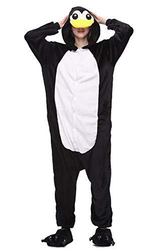 Pijamas Disfraces Onesie Animal Adultos Kigurumi Carnaval Halloween o Fiesta Espectculo Navideo Mono Cosplay Ropa Interior de Zoolgico Invierno Unisex Mujeres y Hombres (Pingino, S)
