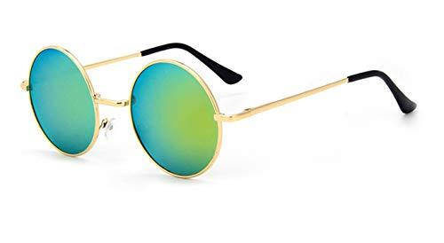 Sunwd Gafas de Sol, Designer Classic Round Sunglasses Men Small Vintage Retro John Lennon Glasses Women Driving Metal Eyewear 129 Gold Frame Gold