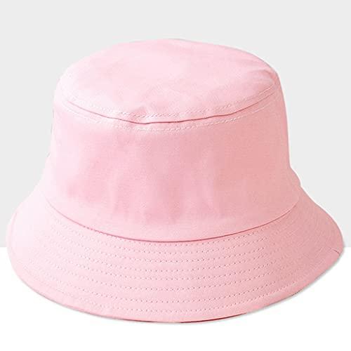 MMAXZ Verano Nuevas Mujer Sombrero Sombrero Sombrero Solar Sombreros Sombreros Unisex Color Puro Cubo Sombreros Pescador Gorra Capas de Escalada al Aire Libre Visor (Color : Pink)