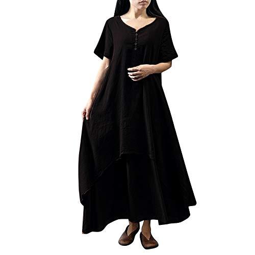 NPRADLA Damen Beiläufige Lose Kleid Fest Langarm Boho Lang Maxi Kleid S-5XL Schwarz/Weiß/Rot/Gelb