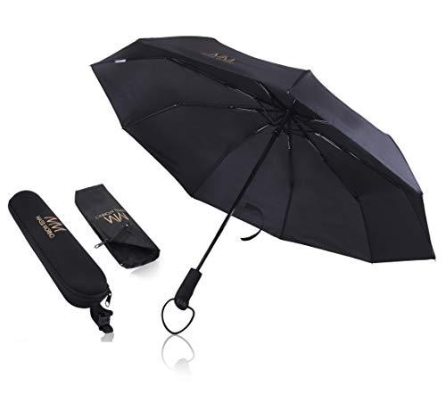 Massi Morino Regenschirm mit Auf-Zu-Funktion (sturmfest bis 140 km/h) Taschenschirm schwarz + praktisches Reise-Etui
