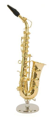 Saxophone alto miniature - Laiton couleur dorée - Objet de décoration - cadeau musique - Livré dans son coffret avec support - Hauteur 16 cm