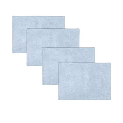Set of 4 Soft Linen Decorative Placemats Heat Resistant Dining Table Place Mats Kitchen Table Mats 12 x 18 Light Blue