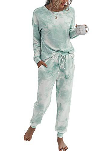 PRETTYGARDEN Women's Tie Dye Two Piece Pajamas Set Long Sleeve Sweatshirt with Long Pants Sleepwear with Pockets Green