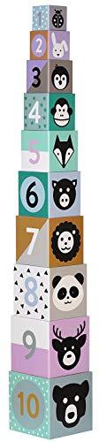 Kindsgut Karton-Stapelturm mit Tieren, Mustern und Zahlen, Stabiler und hochwertiger Karton, dezente und Moderne Farben, kindgerecht
