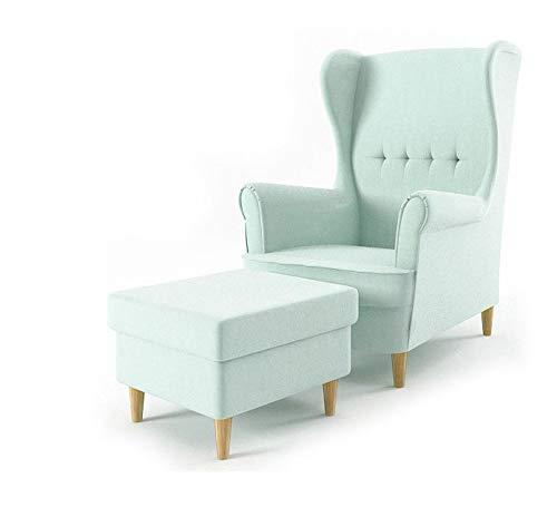 Sofini Ohrensessel Milo mit Hocker! Sessel für Wohnzimmer & Esszimmer! Skandinavisch, Relaxsessel aus Webstoff, Best Sessel! (Beauty 5)