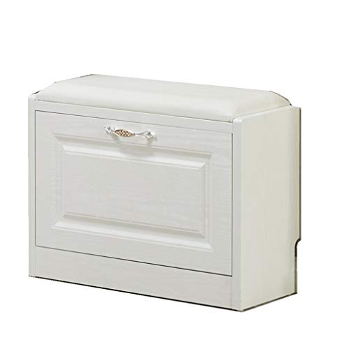 AI XIN SHOP Biała, drewniana szafka na buty z drzwiczkami do wejścia, regał na buty z drzwiami i uchwytem, jednowarstwowa ławka na buty (rozmiar: L 60 x 24 x 42 cm)