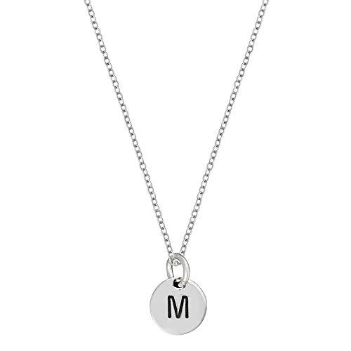 Silverly Pendiente de la Mujer en Plata de Ley 925 Redonda Letra Inicial Collar Alfabeto, 46 cm