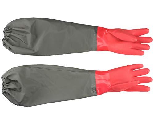 Eiito Guantes de estanque, guantes largos de PVC de goma impermeables con codo de longitud, guantes de acuario, 25 pulgadas, color rojo, talla única