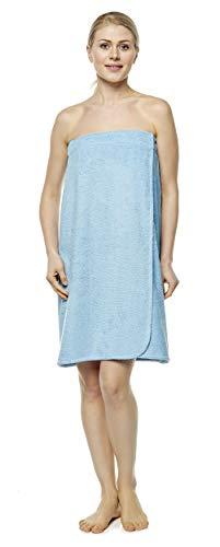 Arus Saunakilt für Damen 100% Bio-Baumwolle-Frottee mit Gummizug und Klettverschluss Größe: S/M, Farbe: Hellblau