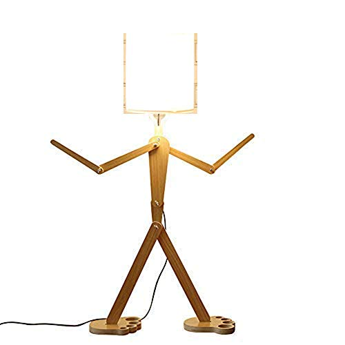 Creative Modern Floor Lamp with Shade for Living Room Wood Home Decorative Tall Standing Light Adjustable Swing Arm Lamps 110cm Unique Design DIY Man Lamps