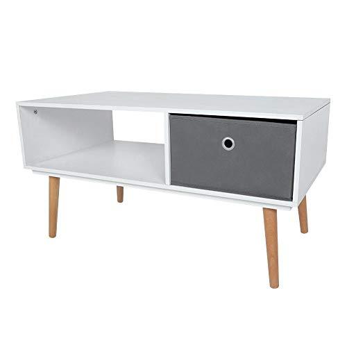 Houten salontafel, tv-meubel, woonkamertafel, tv-meubel, bijzettafel, koffietafel met niet-geweven stof, lade en open vak, 90 x 48 x 47 cm