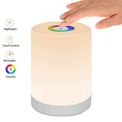 Luz de Noche Recargable, MCSWKEY Luz de Nocturna LED 6 Colores LED Lámparas de Mesa Inteligente para…