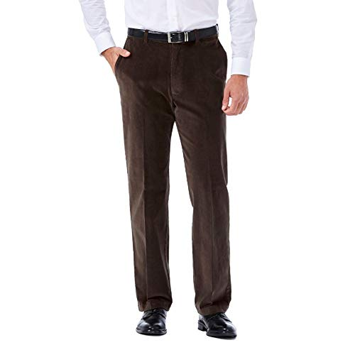 Haggar Men's 21 Wale Stretch Corduroy Expandable Waist Classic Fit Plain Front Pant, Brown, 32x32