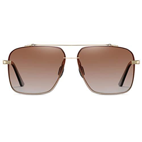 Square polarized sunglasses for men – Oversized Aviator Metal Frame – Gradient UV Protection Lenses (Gold | Brown Gradient)