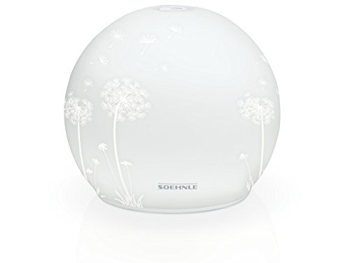 Soehnle Venezia Limited Edition Aroma Diffuser im Glas-Design mit Blumen-Dekor, Zerstäuber mit Farbwechsel, Diffuser für harmonische Lichteffekte