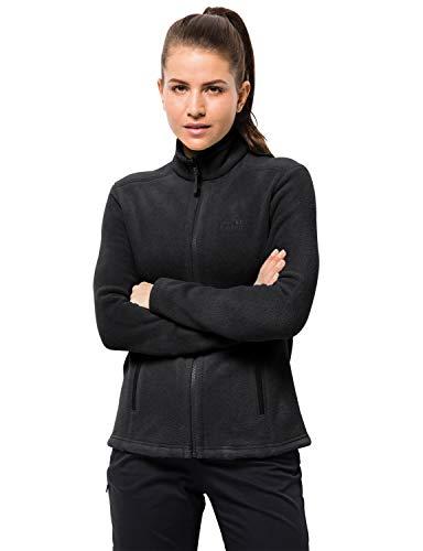 Jack Wolfskin W Moonrise JKT, Damen Jacke aus robustem & recyceltem Fleece, Outdoor Jacke für Damen mit kurzem Systemreißverschluss, kombinierbare Fleecejacke für Damen, schwarz, XXL