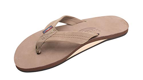 Rainbow Sandals Men's Premier Leather Single Layer Wide Strap with Arch, Dark Brown, Men's Small / 7.5-8.5 D(M) US