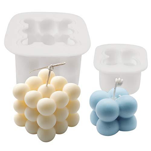 HANGNUO Kerzengießform, 3D Kerzenform Silikonform, Kerzenformen DIY Silikonform Werkzeug Gips Ideal Form, 3D Cube Silikonform für Handwerk Ornamente Fondant Duftkerze Soy Wachs handgemachte Seife