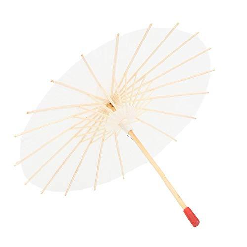Paraguas de Papel a Prueba de Lluvia, sombrilla de Papel Hecha a Mano con sombrilla de Papel Chino Ideal para Bodas, Damas de Honor - Blanco Puro(#2)