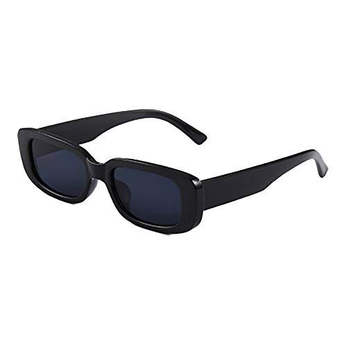 Retro-Sonnenbrille mit kleinem Rahmen, für Herren und Damen, trendig, rechteckig, Schwarz