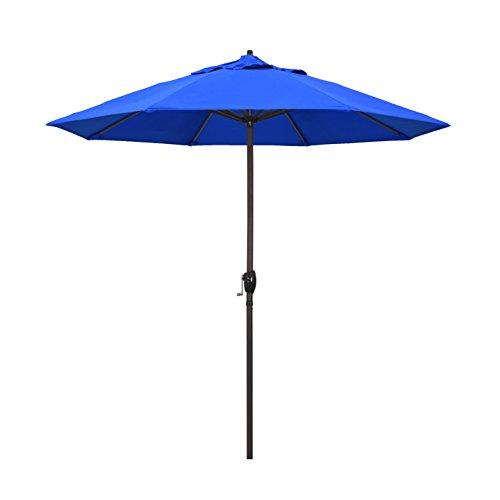 California Umbrella 9' Round Aluminum Market Umbrella, Crank Lift, Auto Tilt, Bronze Pole, Royal Blue Olefin