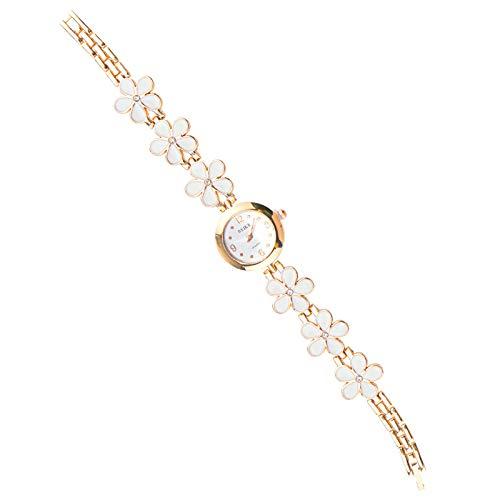 1 x 20,5 cm - Robe blanche - Fleur - Quartz Analogique - Bracelet