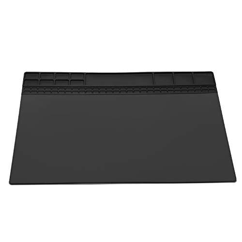 Hitzebeständige Silikon Löten Projekt Mat Pad Geschenke Rutschfeste Reparatur Matte für Lötkolben Repair Geschenk für Techie 40 * 30 cm (Schwarz)