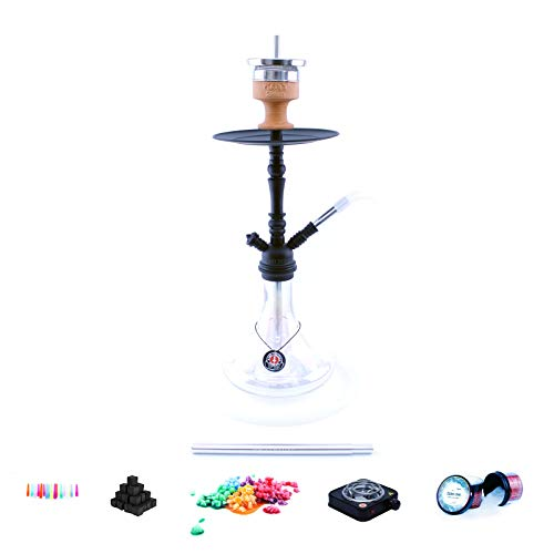 Shisha Set mit Shisha Amy Deluxe Middle Globe, Middle Zoom, Middle Cloud Rainbow, Middle Tango, Kohleanzünder, Naturkohle, Kaminkopf, Dampfsteine (Globe - Clear / Schwarz-Matt)