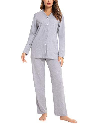 Akalnny Pijama Camisero Mujer Invierno Algodón con Botones Conjutno de Pijamas 2 Piezas Manga Larga Cintura Elástica Suave Cómodo