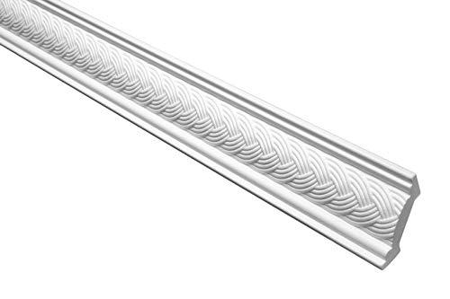 Marbet Deckenleiste B-09 weiß aus Styropor EPS - Stuckleisten gemustert, im traditionellen Design - (20 Meter Sparpaket) Stuck Eckleiste Winkelleiste Wand
