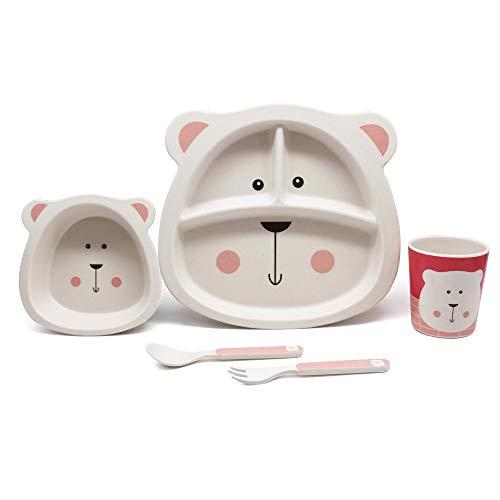 Vajilla infantil de bambú de 5 piezas, 100% fibra de bambú, respetuosa con el medio ambiente, apta para lavavajillas (oso polar)