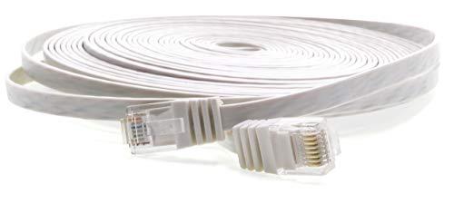 30m - Câble Plat CAT5 Ethernet Blanc - 1 Piece 10/100/1000 Mo/s Câble Réseau RJ45 Ruban Mince câble de Patch Ribbon LAN Câble