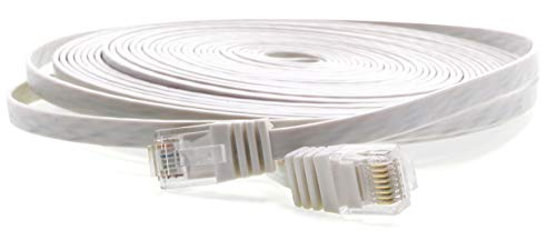 1aTTack.de 30m - Flat Cabel CAT5 Cat 5 White - 1 Piece 10/100/1000 Mbit/s LAN Network Cable Flat Slim patchkabel Ribbon LAN Cable