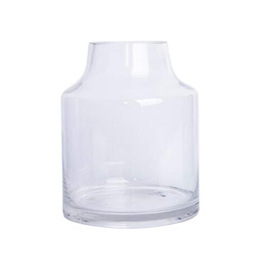 19cm glas bloem vaas fles Scandinavische eenvoudige kruik voor droge bloemen hydroponics plant, ornamenten voor woonkamer vensterbank huis accessoires, smalle mond ontwerp grijs/duidelijk