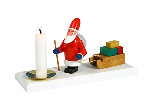 Rudolphs Schatzkiste Kerzenhalter Weihnachtsmann mit Schlitten Höhe ca. 8cm NEU Kerzenständer Kerzenleuchter Weihnachten Schneeball Figur Seiffen Erzgebirge Holz Winterdeko Tischdeko Dekoration