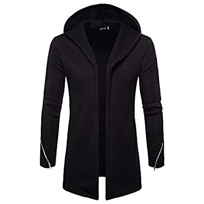Men Casual Comfy Long Sleeve Cardigan Solid Autumn Winter Open Front Coat Outwear