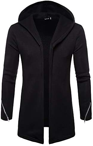 YKARITIANNA Men s Hooded Solid Zipper Trench Coat The Godfather Jacket Cardigan Long Sleeve product image